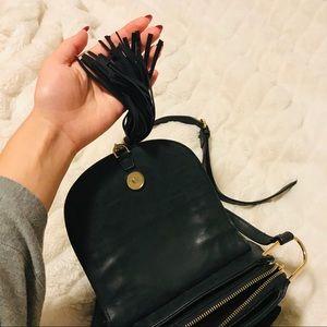 Bags - Black leather studded tassel adjustable crossbody